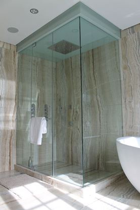 12mm Frameless Shower Door with Painted Glass Ceiling