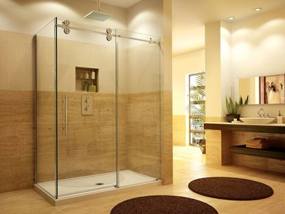 10mm Frameless Shower Door Roller on Top with Return Panel