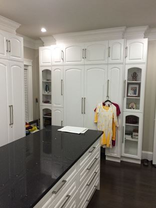 Wood Closet Organizers with Island, White Color