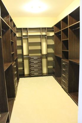 Wood Closet Organizers with Drawers & Shelves, Chocolate Color