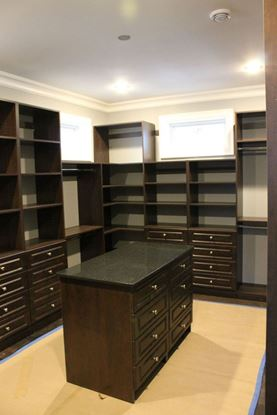 Wood Closet Organizers with Island