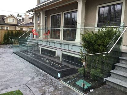 12mm Frameless Glass Railing with Stands-Off with Handrail Gate