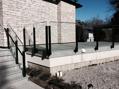 12mm Frameless Glass Railing with black post